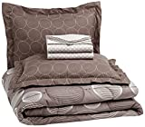 AmazonBasics 7-Piece Light-Weight Microfiber Bed-In-A-Bag Comforter Bedding Set - Full or Queen, Industrial Grey