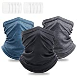 Squish 3Pcs Neck Gaiter with Filter, UPF 50 Face Cover - UV Sun Protection Warmer Windproof Gaiter Sun Bandanas Breathable Scarf for Women & Men & Kids Outdoor Sports