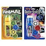 Kinder Taschenlampe Projektor,2 Set Beamer Spielzeuge,Projektionslicht Lampe Pädagogisches Lernen Schlafenszeit Nachtlicht für Kinde, Säuglinge, Kleinkinder (48 Bilder, Universum + Tier)