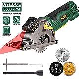 Scie Circulaire, TECCPO 3500RPM Mini Scie Circulaire, Guide de Laser, 3...