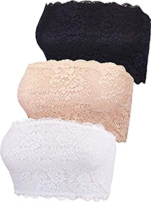 Comfortable material: main material is lace and spandex, lining material is modal and spandex, it touches soft and comfortable, giving you nice wearing experience Design: lace patterns on the front makes the no pads tube bra pretty and cute, straples...
