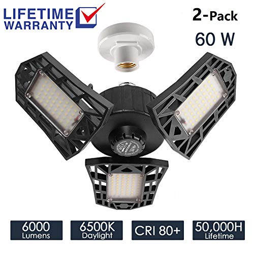 2-Pack Garage Lights 60W LED Garage Lighting - 6000LM 6500K LED Three-Leaf Garage Ceiling Light...