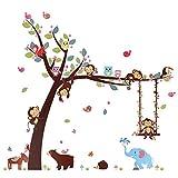 Kesote Cartoon Singe Arbre Jungle Animaux Thème Wall Art Sticker Autocollant Mural Décoration pour Salon Nursery Bébé Fille Garçon Enfant Chambre Chambre Décoration