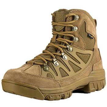 FREE SOLDIER Outdoor Men's Tactical Military Combat Ankle Boots Water Resistant Lightweight Mid Hiking Boots (Coyote Brown, 7 US)
