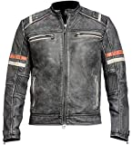 Men's Vintage Motorcycle Cafe Racer Retro Moto Distressed Leather Jacket, B. Retro 2 Faux Leather, Medium