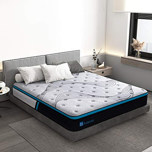 Twin Mattress, Avenco Cold Foam and Innerspring Mattress Twin, 10 Inch Grey Hybrid Mattress in a Box, Excellent Support with Dual Perimeter Edge Support System