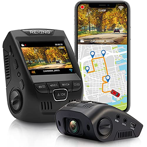"""Rexing V1GW-4K Ultra HD Car Dash Cam w/ Built-in GPS Logger, 2.4"""" LCD Screen,Wi-Fi,170° Wide Angle Dashboard Camera Recorder with G-Sensor, WDR, Loop Recording, Supercapacitor, Mobile App, up to 256GB"""