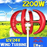 2200W 12V 24Volt 4 Blades Vertical Axis Lantern Wind Turbine Generator + Wind Controller Gift Fit for Home ights Or Boat,12v