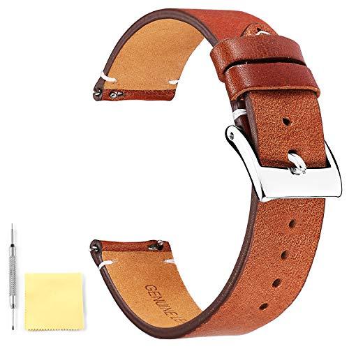 BINLUN Unisex Leder Uhr Armband 22MM Hellbraun FBL00010B-LLB22