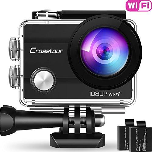 """Crosstour Action Sport Cam WiFi 14MP Full HD Unterwasserkamera 2\"""" LCD 170° Weitwinkelobjektiv Helmkamera mit 2 Akkus 1050mAh und Zubehör Kits"""