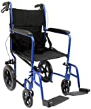 Karman Healthcare LT-1000HB-BL Folding Aluminum Transport Chair with Companion Brakes, Blue, 19' Seat Width