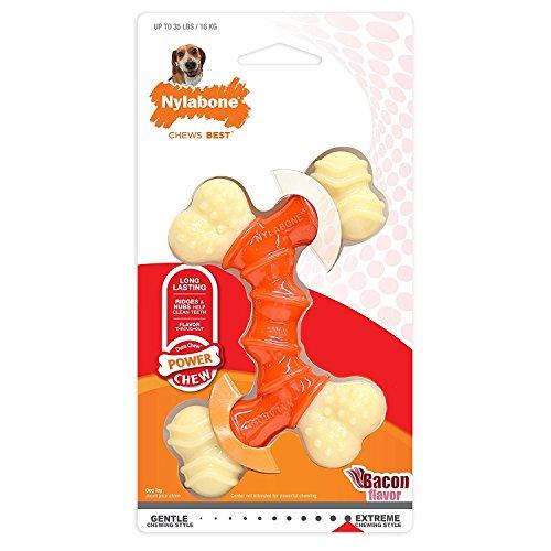 Nylabone - Juguete de Perro para Masticar, Hueso sabor Tocino - Naranja y Blanco