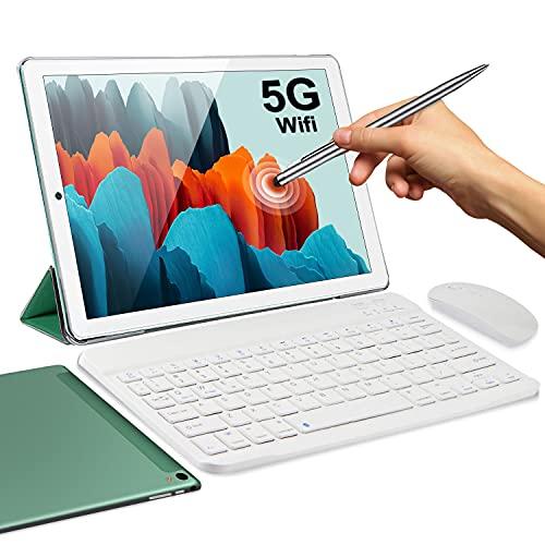 5G Tablet 10 Pollici con Wifi Offerte 4GB RAM 64GB/128GB Espandibili Android 10.0 Certificato Google GMS 1.6Ghz Tablet PC 6000mAh 5+2MP Bluetooth GPS Tablet WiFi Versione con Tastiera e MouseVerde
