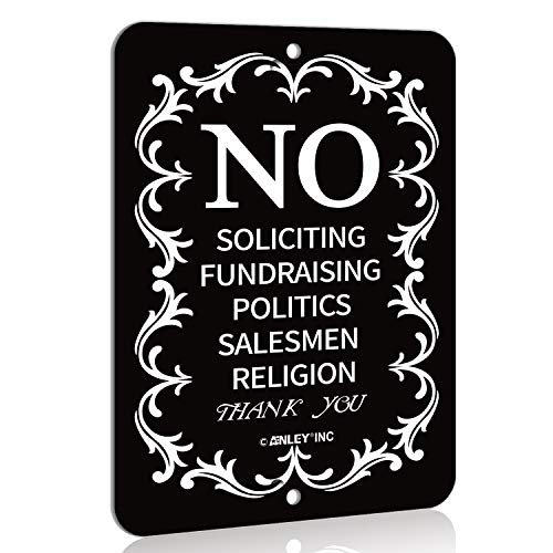 Anley No Soliciting Sign for Home and Business, Do Not Ring The Bell - Modern Design for Indoor and Outdoor Use - 6' x 4.5'
