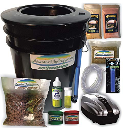 The Atwater HydroPod - Standard A/C Powered DWC Deep Water Culture/Recirculating Drip Hydroponic Garden System Kit - Bubble Bucket - Bubbleponics - Grow Your Own! Start Today!