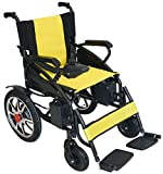 Durable Folding Power Transport Electric Wheelchair Foldable Mobility Chair Portable Automated Motorized Wheelchair (Yellow)