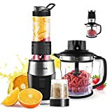 FOCHEA 3 In 1 Blender and Food Processor Combo,Smoothie Shake Blender,700W High-Speed Mixer Blender/Chopper/Grinder with Portable 570ml BPA-Free Bottle, Easy to Clean