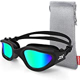 ZIONOR Swimming Goggles, G1 Polarized Swim Goggles UV Protection Watertight Anti-Fog Adjustable Strap Comfort fit for Unisex Adult Men and Women (Polarized Gold Lens Black Frame)