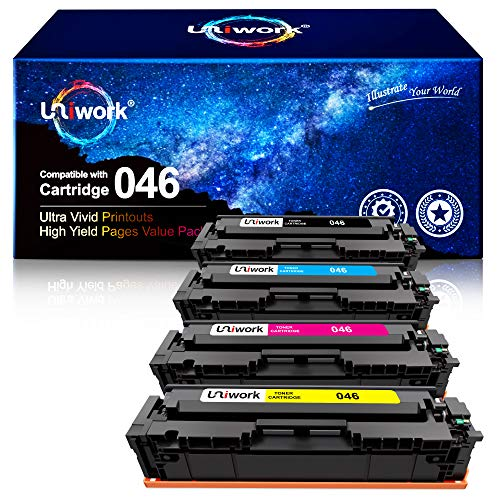 Uniwork Compatible Toner Cartridge Replacement for Canon 046 46H CRG-046 for Color ImageCLASS MF733Cdw MF731Cdw MF735Cdw LBP654Cdw Laser Printer (Black, Cyan, Magenta, Yellow)