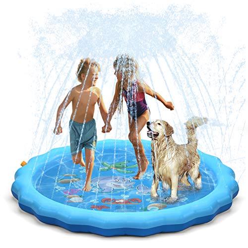 QPAU-Upgraded-2020-Version-Splash-Pad-68-Sprinkler-for-Kids-Dogs-Kiddie-Baby-Shallow-PoolOutside-Toys-Water-Toys-for-Kids-Outdoor-Toys-for-Toddlers-Age-3-5-Blue