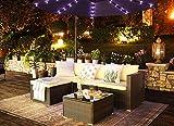 Gartenmöbel-Set 5-teilig aus Polyrattan handgeflochten Gartensofa Gartentisch mit Glasplatte - 4