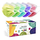 HIWUP Disposable Face Masks Multicolor Face Mask for Women and Men 3 Layer Suitable For Adults And Teens Colored Pack of 50