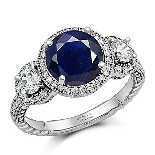 Corindón azul zafiro basisd tres Stone señorías-Ring/anillo de compromiso, redondo, esterlina-plata 925