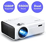 Projector, Crosstour Mini LED Video Projector Home Theater Supporting 1080P 55,000 Hours Lamp Life Compatible with HDMI/USB/SD Card/VGA/AV and Smartphone (Disinfected)