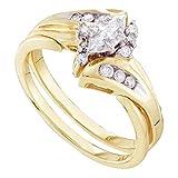 Size 7 - 14K Yellow Two Tone Gold Marquise & Round Diamond Bridal Engagement Ring & Matching Wedding...