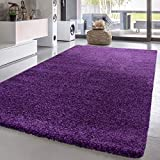 Shag Rug Solid One Color Area Rugs for Living Room and Bedroom, Size:6'7' x 9'2', Colour:Purple