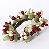 Factory Direct Craft Plump Red and Cream Pip Berry Candle or Napkin Rings | Group of 4 Rings