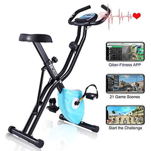 ANCHEER F-Bike, Klappbar Heimtrainer mit APP-Simulationsspiel, Fitness Fahrrad mit 10 Widerstandsstufen, Fitnessbikes mit Handpulssensoren für Zuhause Büro Training, bis 120 kg (Blau)