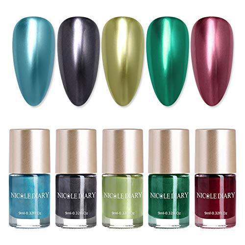 NICOLE DIARY 5 botellas de esmalte de uñas metálico efecto