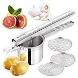 Potato Ricer Masher with 3 Interchangeable Strainer (Fine, Medium, Coarse) - Premium Food Grade Stainless Steel - Super Easy to Make Mashed Potatoes and Baby Food