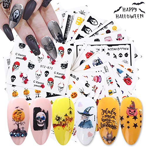 Hanzel Colorful Halloween Nail Art Water Transfer Stickers - Mixed Pattern Metallic Nail Stickers,Manicure DIY Nail Decals, Skull Devil Vampires Pumpkin Art Design Nail Decorations