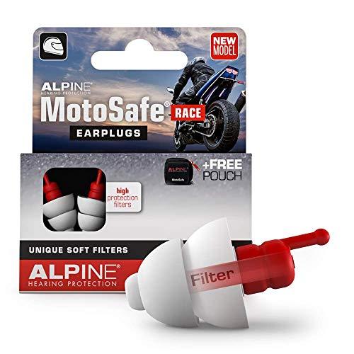 Alpine MotoSafe Race Gehörschutz Ohrstöpsel Rennstöpsel - Verhindern Gehörschäden vom Motorradfahren - Verkehr noch hörbar - Bequemes hypoallergenes Material - Wiederverwendbar