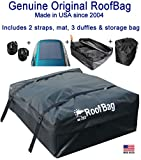 RoofBag Rooftop Cargo Carrier, Made in USA, 15 Cubic Feet. Waterproof Car Top Carrier for Cars with Racks or Without Racks Includes 2 Straps, 3 Liner Bags, Roof Protective Mat, Storage Bag