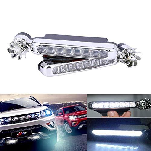 Maso - 2 luci di marcia diurna a LED alimentate al vento, per esterni auto, impermeabile, colore: Bianco