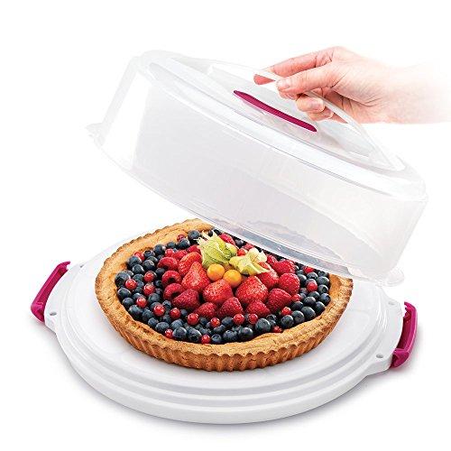 Metaltex Tortenbehälter höhenverstellbar, Polypropylene, weiß/transparent, ⌀ 30 cm, einstellbare Höhe von 8 und 15 cm