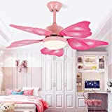 KWOKING Lighting Creative Butterfly Wing Ceiling Light and Fan with Remote Control 5 Blades LED Bedroom Hanging Fan Light Adjustable Speed for Kids Bedrooms - Pink
