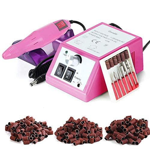 Electric Nail Drill machine GreenLife Nail File Drill Set Kit for Acrylic Nails Gel Nail Glazing professional 20000rpm efile Nail Art Polisher with 150pcs sandings E Files Fast Manicure Pedicure PINK