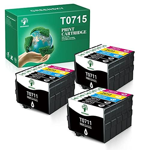 GREENSKY T0715 Cartuccia D'Inchiostro Compatibile in Sostituzione di Epson T0711 T0712 T0713 T0714 per Epson SX110 SX200 SX210 SX215 SX218 DX4400 DX4450 DX5050 DX7400 DX8400 DX8450 BX600FW(15 Pack)
