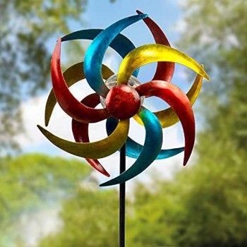 Moulin à vent solaire en métal - Décoration de jardin cinétique - Sculptures & statues pour patio/avalanche - Réversible - 360 degrés - Rotation double à 360 degrés