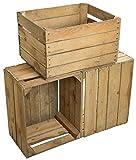 Jeu De 3 Vintage Boîte en bois - vieux Caisse de fruits - Boîte à vin - Nature Used Look