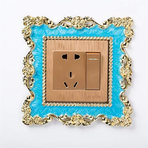 JOOFFF Lichtschalter Aufkleber Abdeckung, Rose quadratische Form Kunstharz Aufkleber Home Decor Zubehör Versorgung, blau