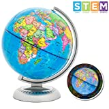 Best Choice Products 8in LED Light Illuminated World Geographical Globe, Educational Toy w/ Day and Night View