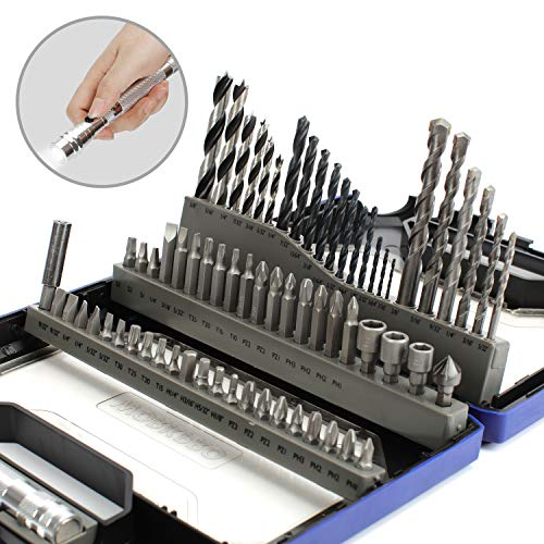 WORKPRO 68-Piece Drills Bits Set with Telescoping LED Work Light Flashlight with Magnetic Pick