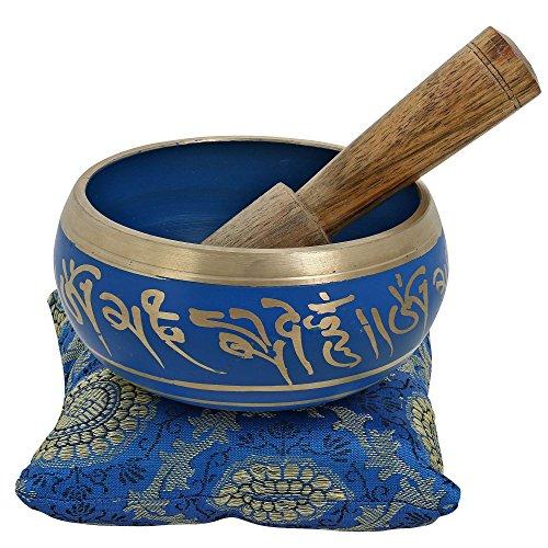 Tibetan Singing Bowl Meditation Red, Blue, Green And Silver Art Buddhist Décor 4 Inch (Blue)