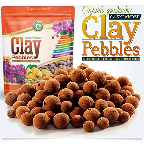 Organic Expanded Clay Pebbles Grow Media for Orchids, NFT DWC Hydroponics, Aquaponics, Aquaculture LECA Plant Garden Soil Conditioner Amendment Ceramsite Aggregate (2 LB Cz Expanded Clay Pellets)