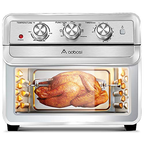 Air Fryer Toaster Oven Aobosi Rotisserie Air Fryer Oven Convection Oven Countertop Air-Fry Oven Multi-Function 6-in-1 Toast/Bake/Broil/Airfry/Dehydrate/Reheat|23Qt XL Large Capacity|Recipe|1700W